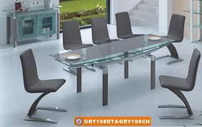 Glass Top Dining Table And Chairs 108dt U0026108ch Dining Table Grey W Glass Top By American Eagle