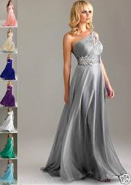 silver dresses for a wedding new one shoulder bridesmaid evening dress formal bridal gown sz 6