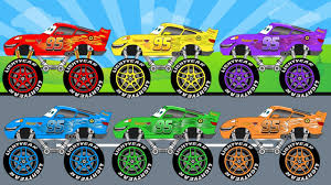 lightning mcqueen monster truck videos learn colours with disney lightning mcqueen monster trucks video