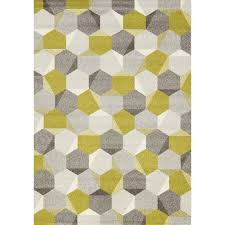 Green Modern Rug Camino Hexagons Pattern Rug Green Grey Kalora Interiors Inc