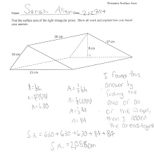 Area Of Compound Shapes Worksheet Prismatic Surface Area Students Are Asked To Determine The Surface