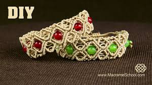 bracelet macrame patterns images Macram diamond square bracelet with beads diy tutorial jpg