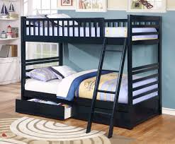 Fraser Navy Twin Over Twin Bunk Bed With Storage Drawers And Solid - Navy bunk beds