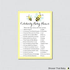 bumble bee celebrity baby shower game in yellow celebrity