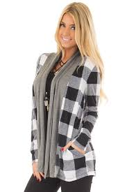 plaid sweater black and white plaid cardigan with charcoal contrast lime lush