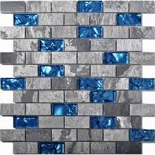 Ocean Blue Glass Mosaic Grey Marble  X  Subway Wall Tiles - Blue glass tile backsplash