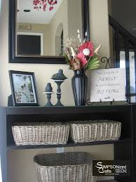 Entryway Table With Baskets Baskets To Toss Mail Magazines Etc Large Basket For