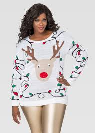 light up reindeer holiday sweater plus size ugly christmas