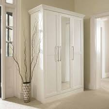 contemporary dressing room with wooden mirrored bifold