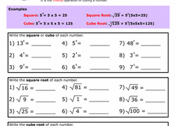 building exponents squares cubes and roots worksheet