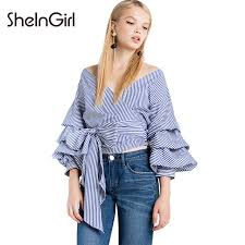 striped blouse sheingirl striped blouse casual v neck fashion balloon