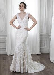 mermaid v neck open back cap sleeve vintage lace wedding dress bow