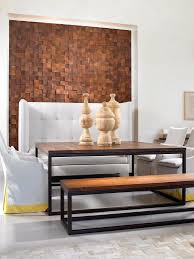 Black Wood Laminate Flooring Black Cushion Chairs Dining Room Accent Wall Stencil Whiite Brick