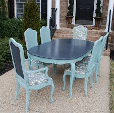 Vintage French Thomasville Dining Room Table Refinished In Duck - Painting a dining room table