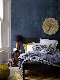 Yellow Bedroom Walls Deep Blue Accent Wall In Modern Eclectic Bedroom Gorgeous Use Of