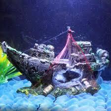 2018 new chic resin aquarium ornament wreck sunk ship sailing boat