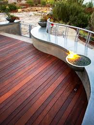 exterior redwood decking design ideas combined with marble bench