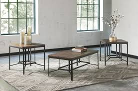ashley t442 13 newelk metal 3 pc coffee table set with brown wood top