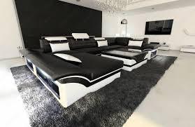 Big Leather Sofa Big Leather Sofa Enzo With Led Lights Black White Ebay
