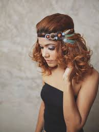 feather headbands indian teal brown feather headband with black boho