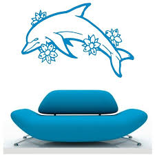 dolphin home decor 2 size dolphin with flowers ocean fish animal wall stickers carton