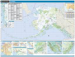 Alaska Inside Passage Map by Rand Mcnally Alaska State Wall Map
