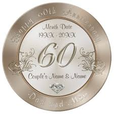 60th anniversary plate personalized 60th anniversary gifts for parents dinner plate