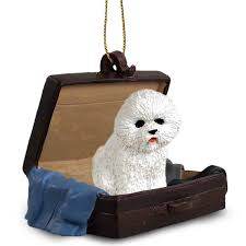 bichon frise traveling companion ornament