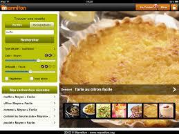 application recettes de cuisine marmiton ecran d accueil de l application structuration