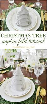 tree napkin fold tutorial sand and sisal
