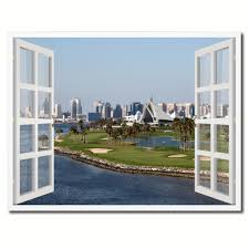 dubai creek golf course picture french window framed canvas print