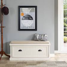 amazon com crosley seaside entryway bench in distressed white