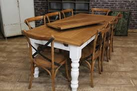 EXTENDING FARMHOUSE TABLE WITH AN OAK TOP AND A PAINTED BASE RUSTIC - Farmhouse kitchen table