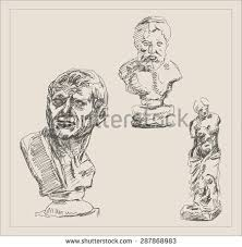 ancient person bust sculpture sketch hand stock vector 319880837