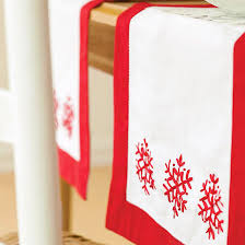 red and white table runner easy embroidered holiday table runner snowflake designs holiday