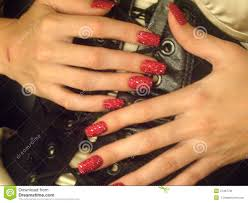red bedazzled nails stock photo image 47497781