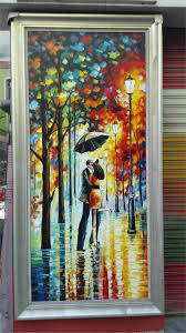 hand painted canvas art landscape modern oil painting lovers rain