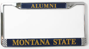msu alumni license plate frame license plate frame chrome fitted alumni montana state msu