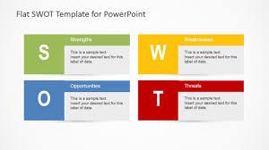 flat swot analysis design for powerpoint slidemodel