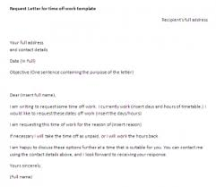 request letter time off work request letter sample