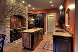 mocha cabinets dark floor kitchen perfect home design