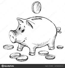 sketch of a piggy bank with coins u2014 stock photo mubaister gmail