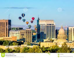 city of boise skyline with air balloons stock photo image