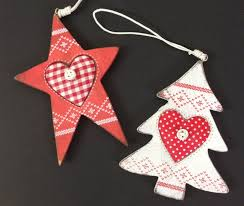 wooden christmas tree ornaments red star u0026 white tree