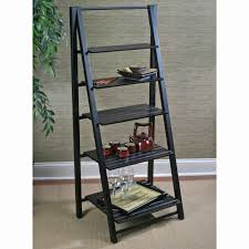 charming black polished wooden ladder shelf as open storage with