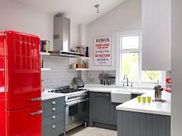 kitchen room cherry red fridge small kitchen design idea modern