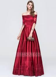 a line princess off the shoulder floor length satin prom dress