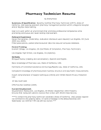 Resume With No Experience Sample Resume Objective Examples Pharmacy Technician Augustais