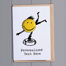 happy days personalised greeting card with badge by petra boase