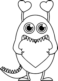 monster valentine heart free coloring page wecoloringpage